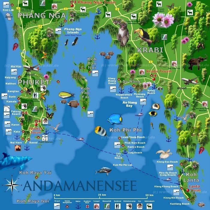 Карта достопримечательностей Таиланда