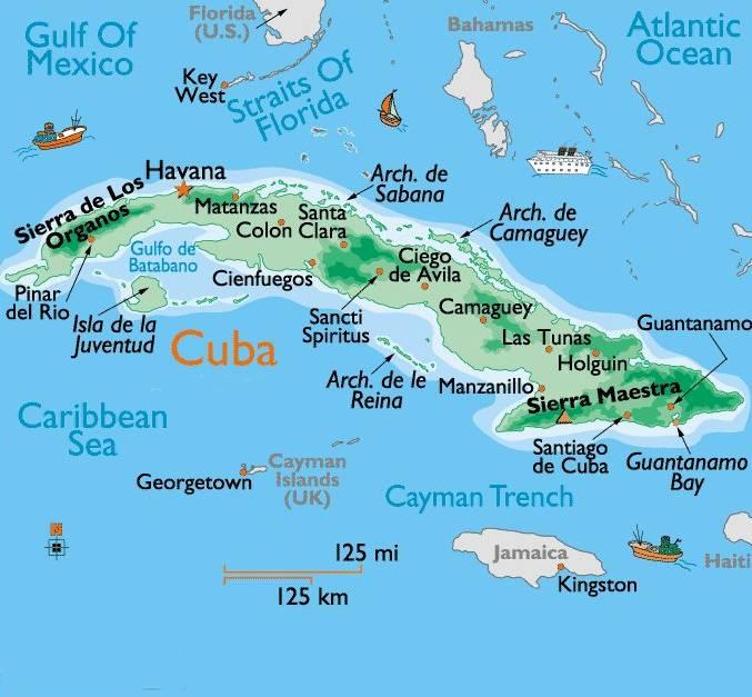 Карта достопримечательностей Кубы